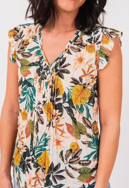 Aria Botanical Short-Sleeved Top K472N IVORY