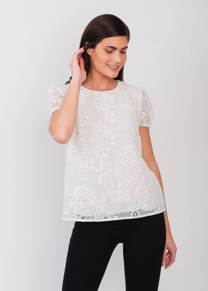 Versatile white lace top IVORY