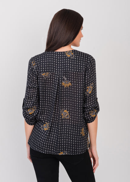 Black spotted top (button-up front) Black