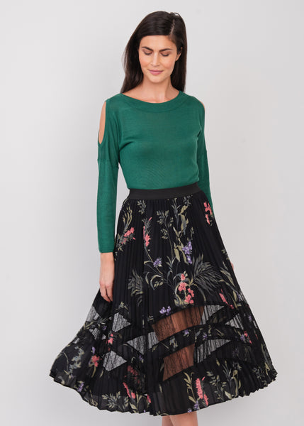 Pleated Floral Midi Skirt Black