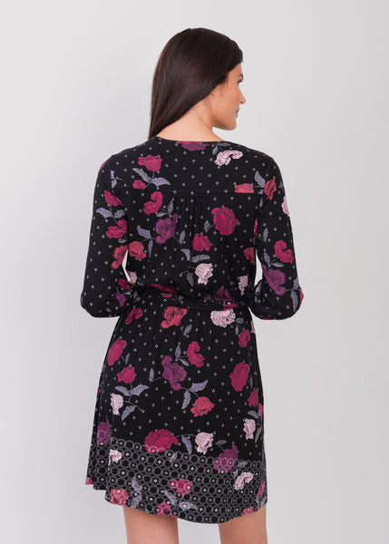 Triple flower fit and flare dress BLACK