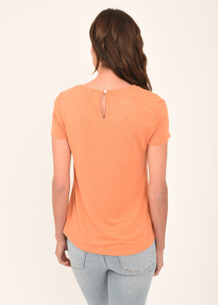 Riley Coral Embroidered Tee CORAL  GOLD