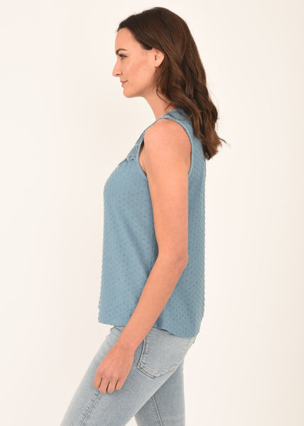 Madison Embroidered Blue Tank L180  BLUE HEAVEN