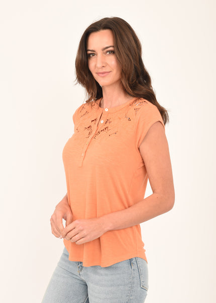 Ellie Coral Printed Top CORAL  GOLD