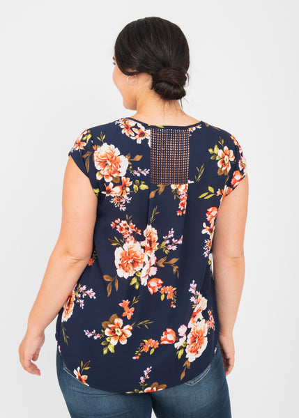 Luna Floral Split-Neck Blouse (Plus Size) L509 INDIGO