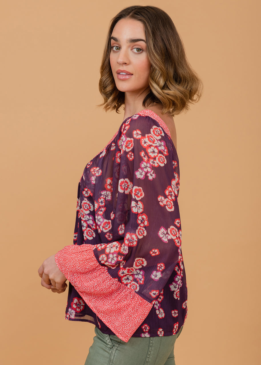 Floral top with polka-dot sleeve and neckline detail Plum