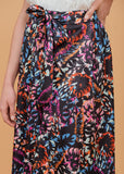Abstract floral print wrap skirt Black