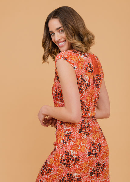 Abstract tangerine floral print dress Clay