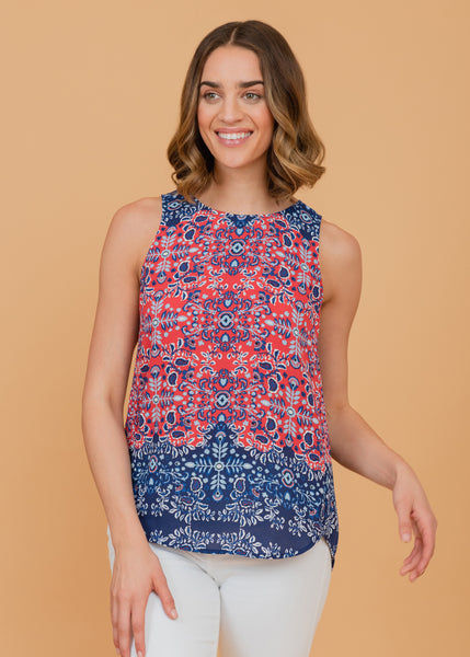 Blue and purple abstract tribal print top Indigo