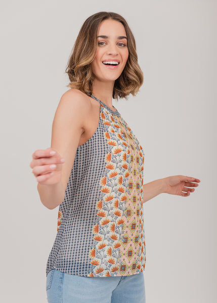 Halter-neck abstract print top Ivory