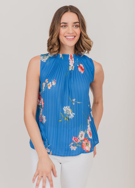 Sleeveless pleated blouse (blue) Blue