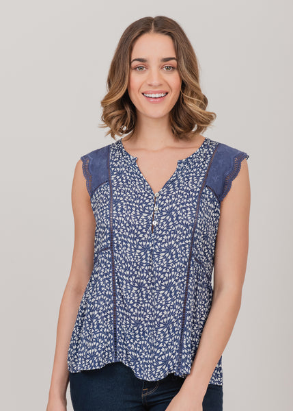 Henley neck kaleidoscope print dress with cap sleeves Indigo