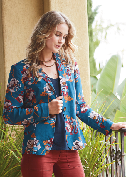 Blue floral statement blazer Zephyr