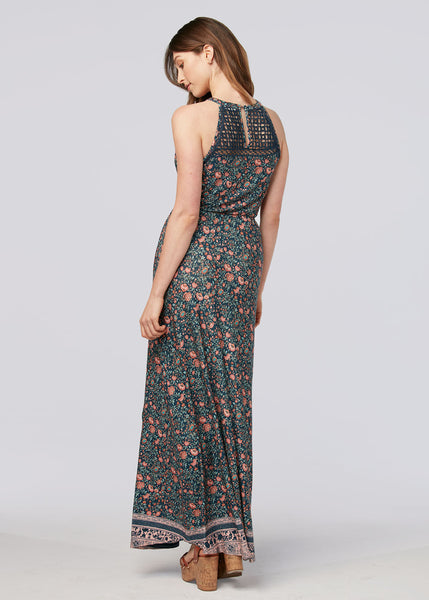 Halter neck maxi dress Indigo