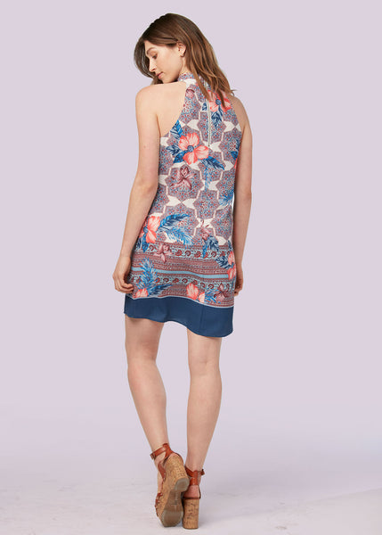 Cut-out neck shift dress Indigo