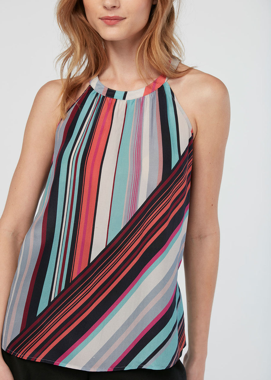 Abstract striped halter blouse Multi Stripe