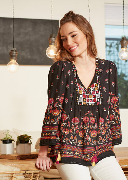 Abigail Printed Patchwork Top