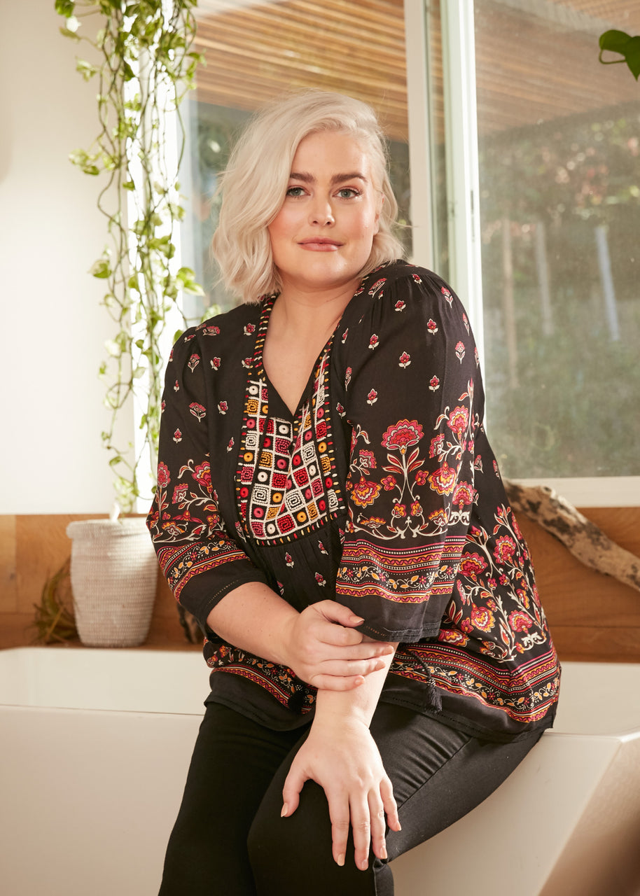Abigail Printed Patchwork Top (Plus Size)