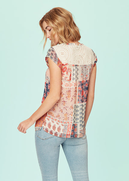 Patchwork top with white base Red Multi Print