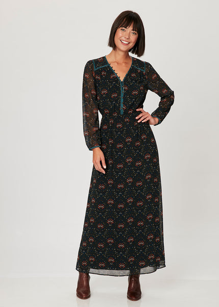 Retro black maxi dress