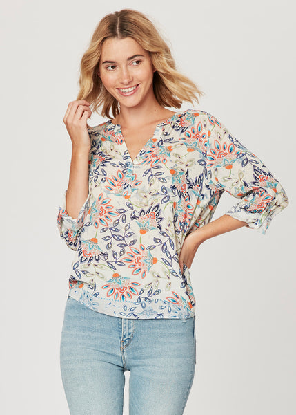The Marci Split Neck Floral Blouse