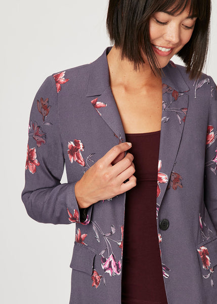 Lightweight, soft floral blazer Shadow