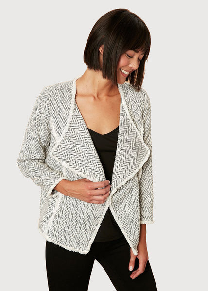 Geometric pattern jacket with spread collar Ivory