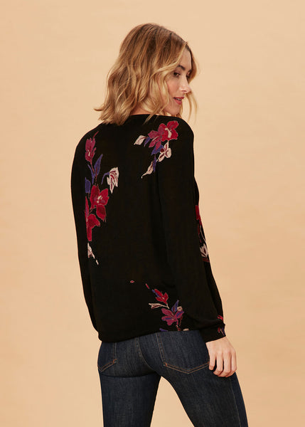 Soft Lightweight Printed Sweater Black