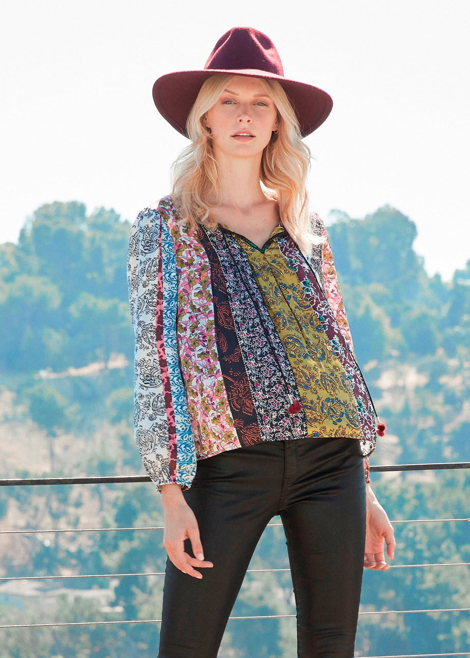 Hand-beaded embroidered bohemian top Corinne Peasant Blouse MULTI By Daniel rainn