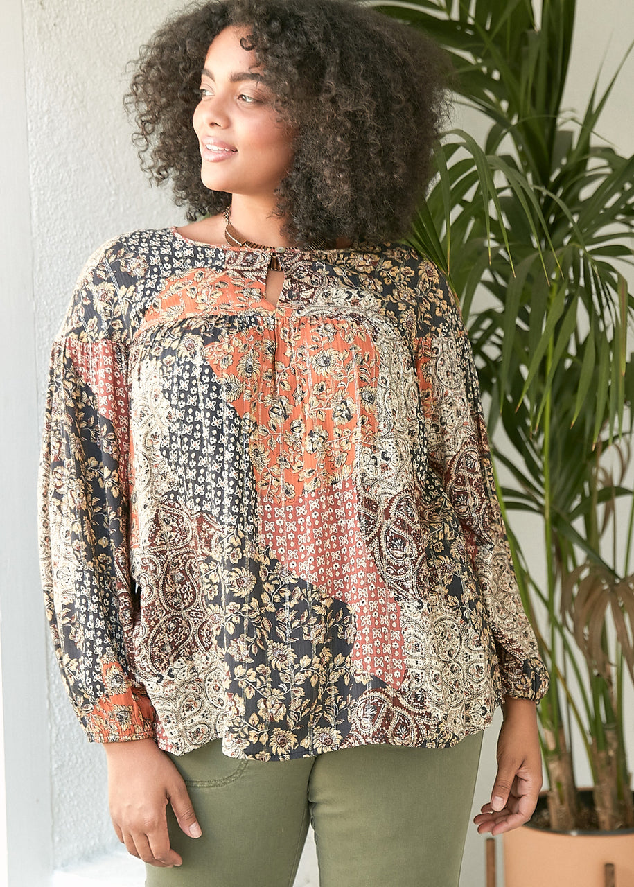 Embry Patchwork Paisley Top+ Black