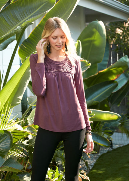 Woven-neck purple top