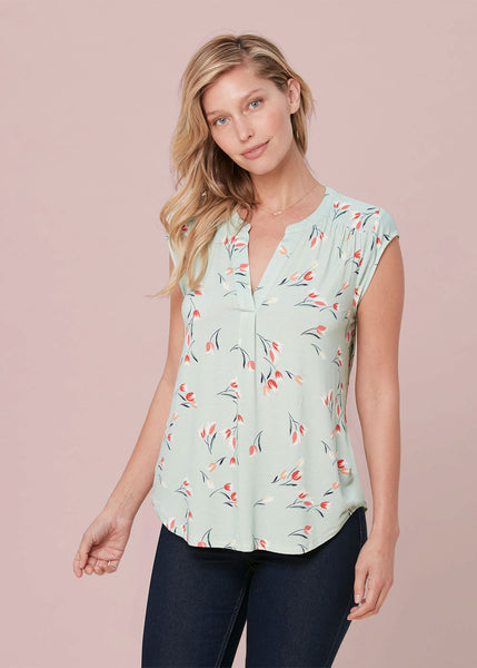 Lightweight floral top (knit) New Sage