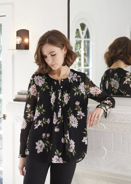 Button up floral tunic Black