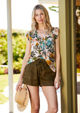 Aria Botanical Short-Sleeved Top