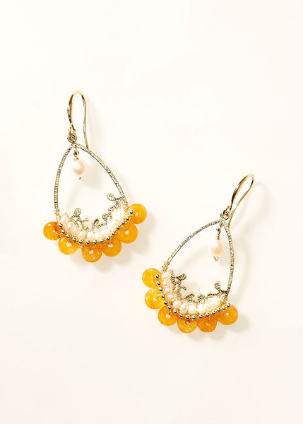 Teardrop Gem Amber Pearl Earrings