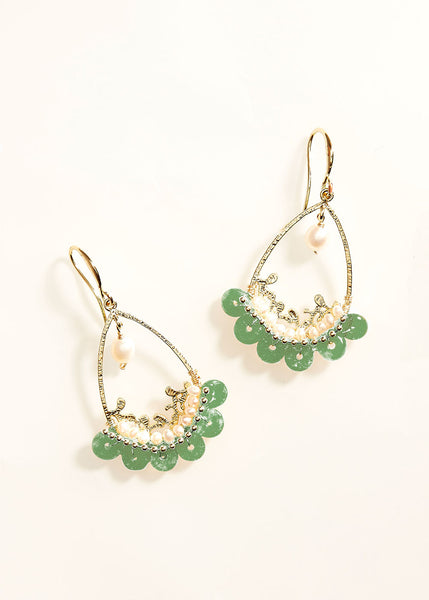 Teardrop Gem Jade Pearl Earrings
