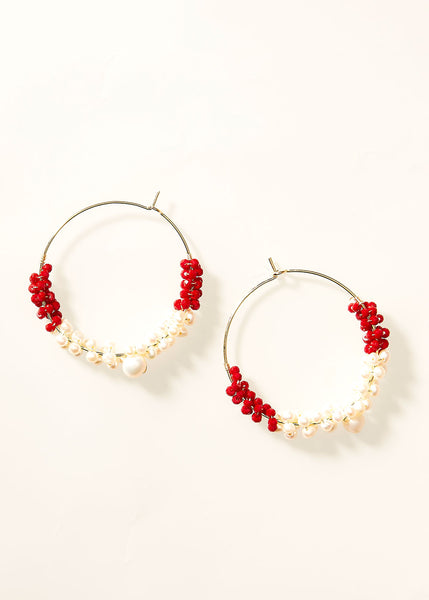 Hoop Beaded Pearl Burgundy Earrings
