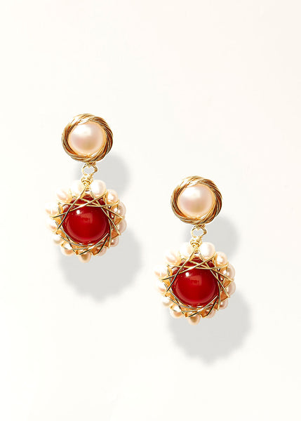 Burgundy Gem Earrings