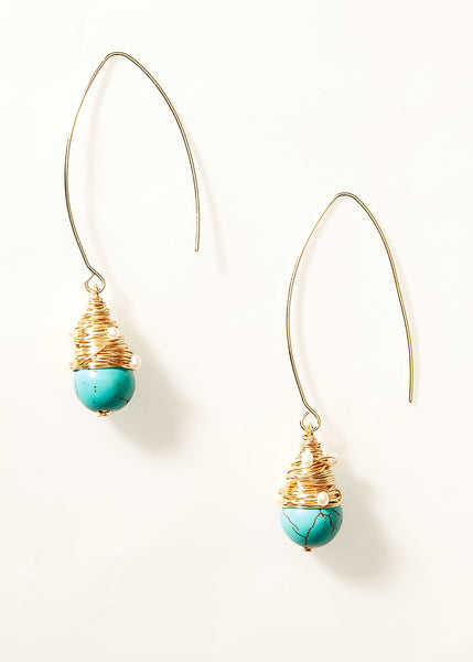 Turquoise Dew Drop Earrings