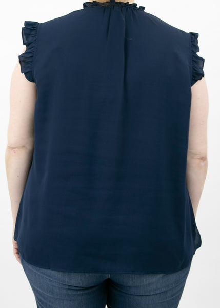 Ellie Short-Sleeved Ruffle Top (Plus Size) Indigo