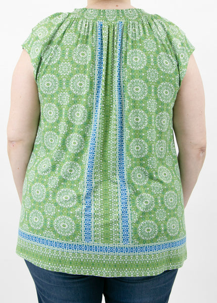 Madison Tassel-Front Printed Top (Plus Size) K130 FERN GREEN