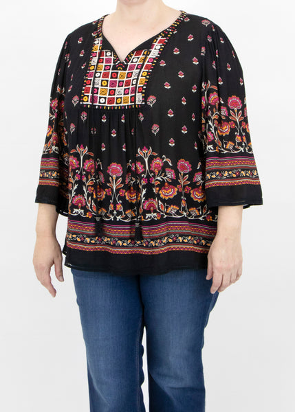 Abigail Printed Patchwork Top (Plus Size) J088 Black