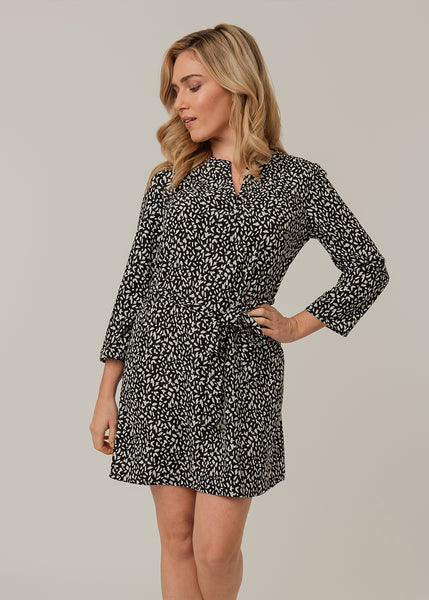 Polka dotted shirt dress Black