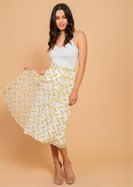 White and gold tie-waist skirt Yellow