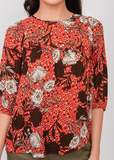 Red Floral Boho Top Red