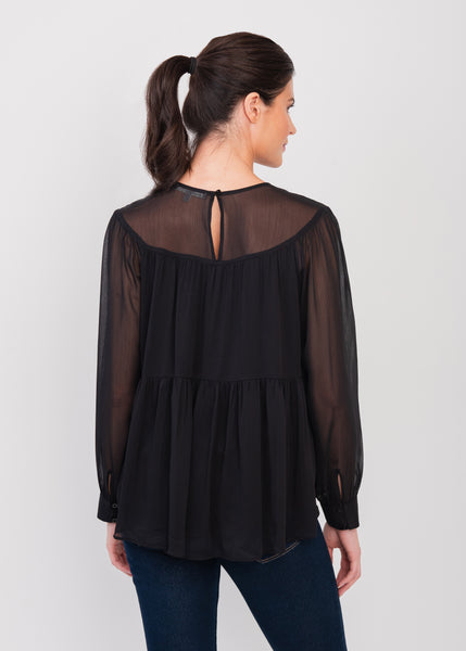 A-line vintage black blouse Black