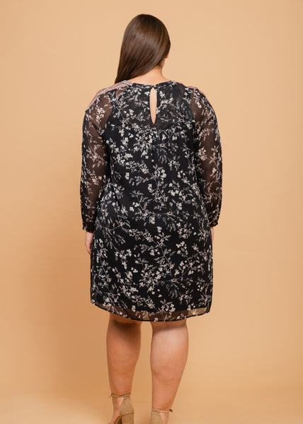 Net and lacework dress (plus) Black