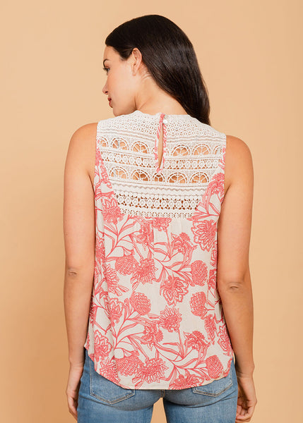 Sleeveless blouse with lacework on bib Antique Ivory