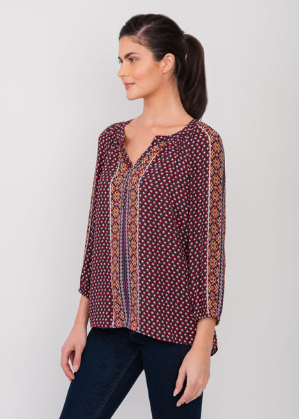 Quirky split-neck top MULTI
