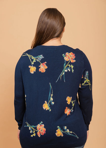 Super-Soft Printed Cardigan Indigo